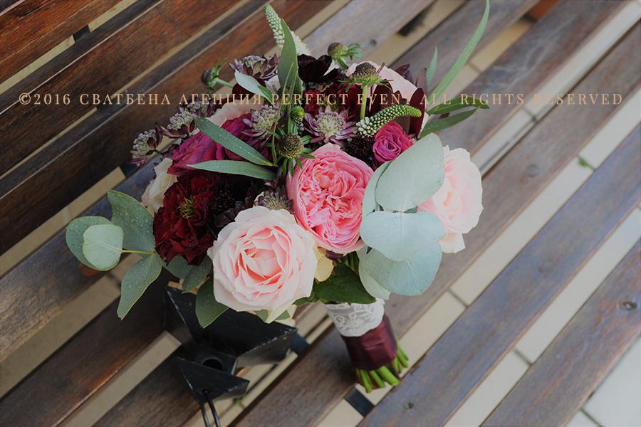 Булченски букет в Розово и цвят Марсала