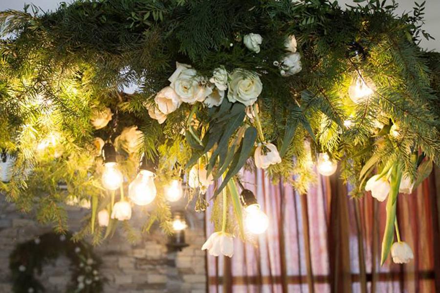 зимна сватба в планината, сватбена декорация